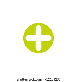 White cross in green circle. Flat vector icon isolated on white.  Add or plus purchase pictogram.  Good for web and mobile design.