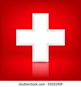 White cross. Medical symbol. Switzerland flag. Satin shape with shadow and reflection on red background. This vector illustration saved in 10 eps