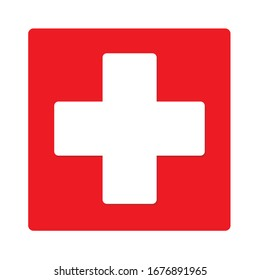 White cross on a red background. The medicine.