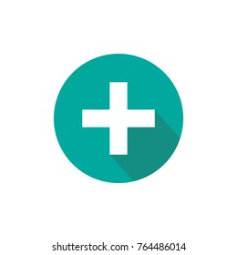 white cross with shadow in turquoise circle. Flat vector icon isolated on white.  Add or plus purchase pictogram.  Good for web and mobile design.
