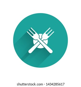 White Crossed fork icon isolated with long shadow. Cutlery symbol. Green circle button. Vector Illustration