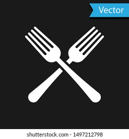 White Crossed fork icon isolated on black background. Cutlery symbol.  Vector Illustration