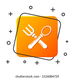 White Crossed fork and spoon icon isolated on white background. Cooking utensil. Cutlery sign. Orange square button. Vector Illustration