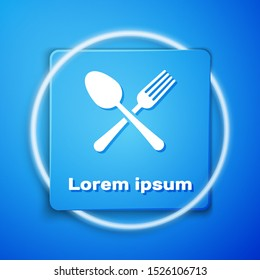 White Crossed fork and spoon icon isolated on blue background. Cooking utensil. Cutlery sign. Blue square button. Vector Illustration