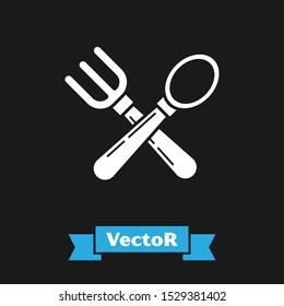 White Crossed fork and spoon icon isolated on black background. Cooking utensil. Cutlery sign.  Vector Illustration