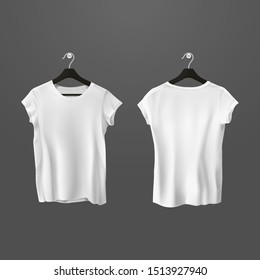 White crumpled t-shirts or battered unisex shirt on hanger. Man and woman cloth hanging. Front and back view on realistic blank uniform. Mockup of 3d fashion wear with short sleeve. Clothing, apparel