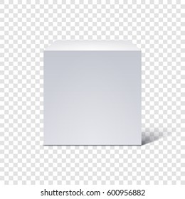 White cube isolated on transparent background