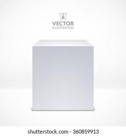 White cube. Realistic vector illustration