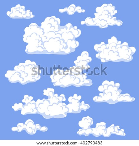 White Cumulus Cloud Set On Blue Stock Vector Royalty Free