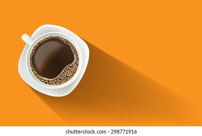 White cup of black coffee with foam and bubbles on a white plate. Realistic vector illustration.  View from above. Poster, illustration, greeting card, invitation, cafe, restaurant menu, print.
