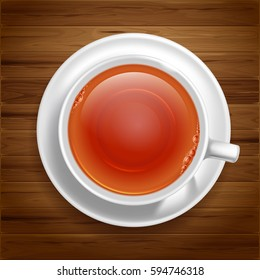 White cup of black tea on saucer stand on wooden table. Top view. Vector illustration, isolated on white background.