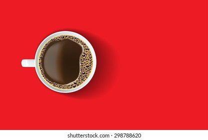 White cup of coffee with foam and bubbles on a bright red background. View from above.  Menu, packaging design, poster, invitation card. Realistic vector illustration.