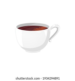 White cup of coffee or tea isolated aromatic drink. Vector morning refreshment hot drink realistic icon. Traditional English 5 oclock tea, herbal, green or black beverage in ceramic mug with handle