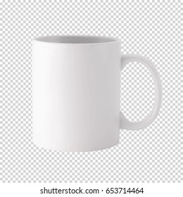 White cup on transparent background. Drink cup vector template mock up for your design.