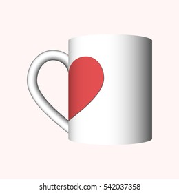 white cup with red half sign of heart as mockup for decoration or symbol of valentine's day