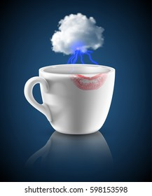 white cup with red lipstick print and small cloud with lightings on dark blue background