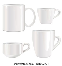 White cup vector set. Mug collection isolated on white.