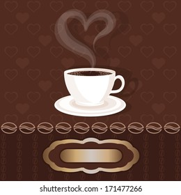 White cupful with coffee and steam heart. Greetings card with frame (for your text). Retro style. Vector illustration.