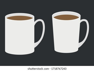 White cups with coffee on black background.