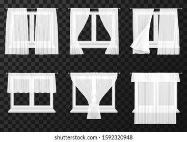 White curtain drapes on window frames, vector realistic icons. Transparent fabric curtain with folds, closed, pen and waving on wind blow on modern plastic or wood windows