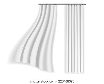 White Curtains Fluttering On A Background