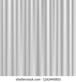 White curtains template vector illustration. Theater performance, stage presentation, shower curtains, interior decor or medical patient privacy concept. Corrugated velvet fabric or plastic brisebise.
