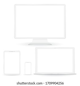 White custom made devices set. Laptop, display, phoneand tablet with drop shadow isolated on white background