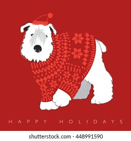 White cute fluffy dog in sweater on red background. Holidays concept.