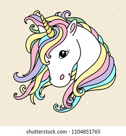 White cute unicorn vector head with mane and horn. Unicorn on starry background, card and shirt design.
