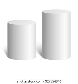 White cylinder. 3D geometric shape. mock up. Vector Illustration