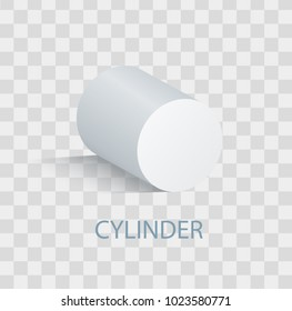 White cylinder geometric figure that casts shade. Three-dimensional cylinder shape with side in form of circle and smooth surface isolated vector illustration on transparent background