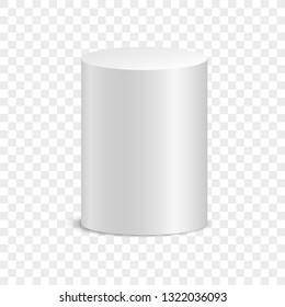 White cylinder. Isolated on transparent background. Vektorgrafik, eps 10.