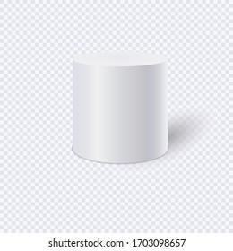 White cylinder isolated on transparent background. Vector Illustration.
