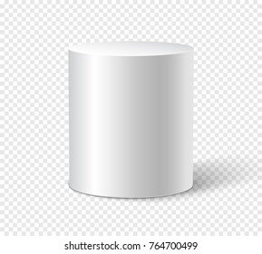 White cylinder on isolated background. 3d object cylinder container design template.