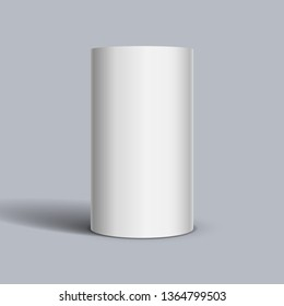 White cylinder on light background. Vector template for your design.