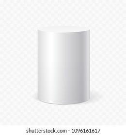 White cylinder on transparent background. Vector illustration