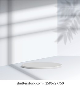 white cylinder podium with shadow leave on white background. Empty pedestal platform for award, product presentation, mock up background, Podium, stage pedestal or platform illuminated. Vector.