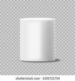 White cylinder. Solid circular box pillar or stand empty can template vector isolated on transparent background