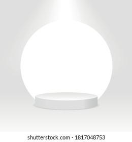 White cylinder template. 3d base stand podium or studio pedestal round platform showroom illustration