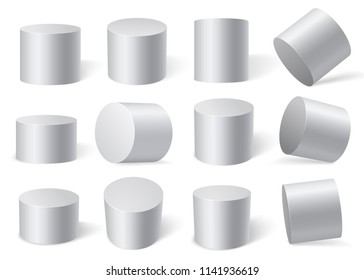 White cylinders on different angles. Isolated on white background. Vector set of 12 objects. Templates for your design.