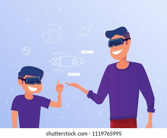 White dad and kid in VR headset with virtual rocket hud interface symbolizing virtual reality education. Concept of progressive gaming education with additional reality tools. Vector flat illustration