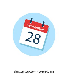 White daily calendar Icon September in a Flat Design style. Easy to edit Isolated vector Illustration.