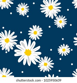 White daisies and white circle seamless vector pattern on a blue background. Daisy in doodle style. Tiny flowers seamless pattern.