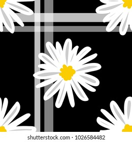 White daisies and white line seamless vector pattern on a black background. Daisy in doodle style. Tiny flowers seamless pattern.
