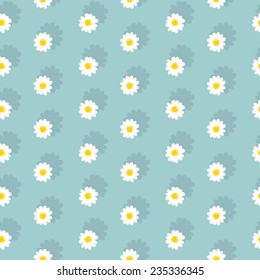 White daisies seamless pattern on a blue background.Daisy field.flower chain.