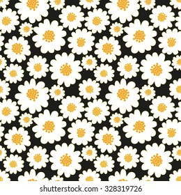 White daisies seamless pattern on a black background.Daisy field