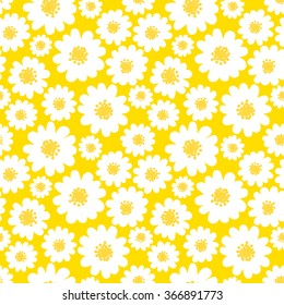 White daisies seamless pattern on a yellow background. Daisy field