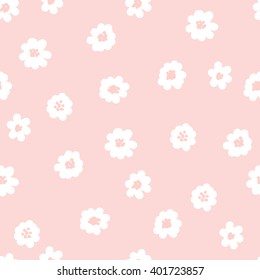 White daisies seamless pattern on a pink background. Daisy field - stock vector. Vector seamless pattern. Abstract background with round brush strokes. Monochrome hand drawn texture