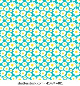 White daisies seamless pattern on a bright blue background.Daisy field