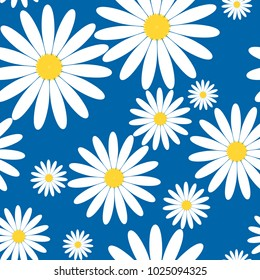 White daisies seamless vector pattern on a blue background. Daisy in flat design. Tiny flowers seamless pattern.